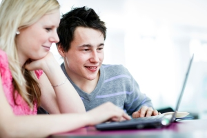 students on computer
