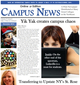Cover of November 2014 Campus News Student Paper