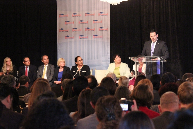 Justin Rodriguez, Texas representative, congratulates the universities who were finalists or received honorable mention at the Celebración de Excelencia awards ceremony Tuesday in Washington. SHFWire photo by Lorain Watters