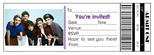 TICKET STYLE PARTY INVITE ONE DIRECTION